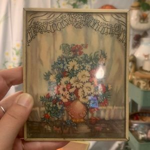 Vintage Accents - Vintage convex painted glass flower greeting cards